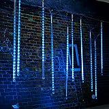 SOLMORE 50CM 10 Tubes 540 LED Guirlande Lumineuses Étanche IP65 Météore Lumière Déco Noël Sapin Arbre Fête Soirée Anniversaire Maison Jardin Toit Balcon Rue Intérieur Extérieur (FR Prise 85-265V) Bleu