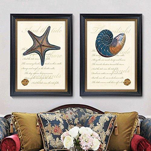 ZZZSYZXL 2 set di divani sfondo pittura cornice soggiorno camera da letto comodino muro dipinto - stella marina , Black , 35*50cm - Allungato Stella