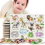 En bois Matching Peg Puzzle Zoo Animaux Jigsaw Puzzles Early jouets éducatifs cadeau pour les tout-petits