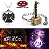 (2 Pcs AVENGER SET) - AGENTS OF S.H.I.E.L.D & THOR HAMMER (GOLD) IMPORTED PENDANTS. LADY HAWK DESIGNER SERIES 2018. ❤ ALSO CHECK FOR LATEST ARRIVALS - NOW ON SALE IN AMAZON - RINGS - KEYCHAINS - NECKLACE - BRACELET & T SHIRT - CAPTAIN AMERI