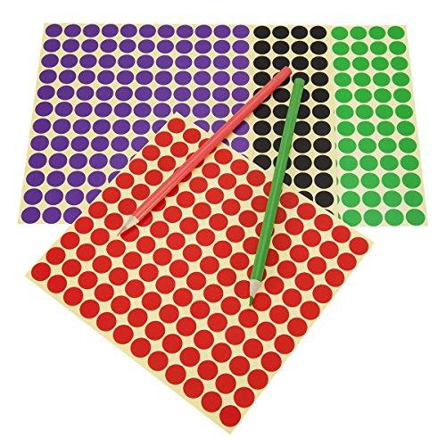 Witasm Pegatinas Redondas Colores, 32 Hojas Contienen 3232 Piezas ( 2112 pcs de Diámetro 1.3cm y 1120 pcs de Diámetro 2 cm ) 16 Colores Etiquetas Adhesivas Circulares Removibles