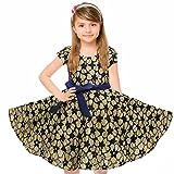 HBBMagic Mädchen Kurzarm Sommerkleid Rockabilly Kleid Mädchen Blumen 50er Vintage Kleid Faltenrock mit Gürtel (Mädchen 9-10 Jahre, Schwarzer Blumenstrauß)