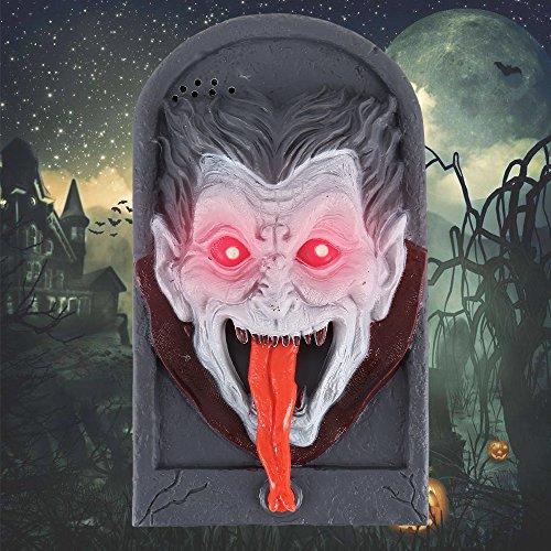 (Enjoygoeu Halloween Haus Deko Türklingel Vampir Figur mit Schrecklicher Ton und Licht Batteriebetrieben Haustür Deko Faszinierende Begrüßung)
