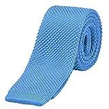 DonDon Cravate étroite en tricot 5 cm - bleu clair