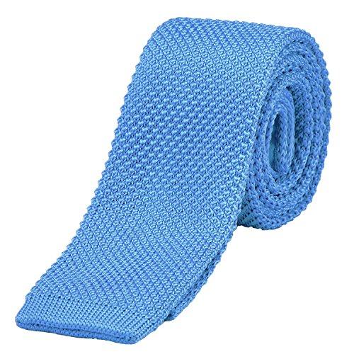 DonDon corbata de punto estrecha de color - azul claro