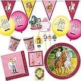 HHO Bibi und Tina Party-Set 89tlg. für 12 Kinder : Teller Becher Servietten Einladung Luftballons Wimpelkette Trinkhalme