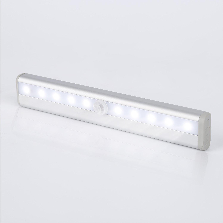 Tsing Barra de Luz con Sensor de Movimiento 10 LEDs Inal/ámbrica L/ámpara Nocturna para Armario//Caj/ón//Camino Blanco Caliente