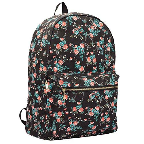 15 colours tela zaino - da ragazza da donna casual uso giornaliero borse - 20 litre scuola media bagaglio a mano misura zaino - insediamento classico borsa - 39cm x 32 x 16 ql716m - nero fiore, medium
