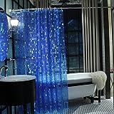 Duschvorhang transparent, 180 x 180 cm, Fomzoon Anti-Schimmel Wasserdicht PEVA Duschvorhang Liner / Duschvorhang Anti-Bakteriell (Spots dunkelblau)