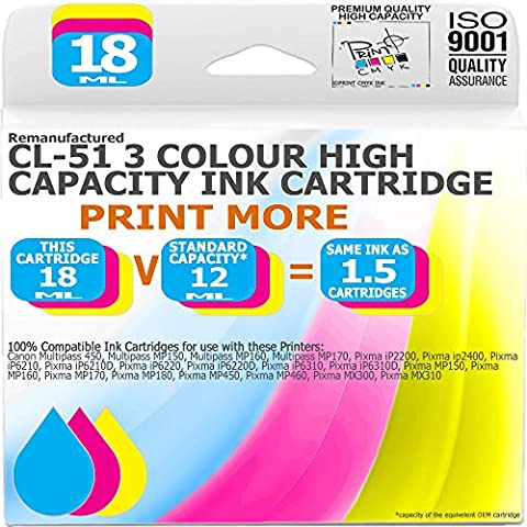 Print More - Remanufactured Canon CL-51C 3 Colour High Capacity