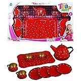 Unbekannt Kindergeschirr-Set 14 tlg.Set Teeservice Kaffeeservice Puppen Geschirr aus Metall mit Tablett Rot mit weissen Punkten (Rot)