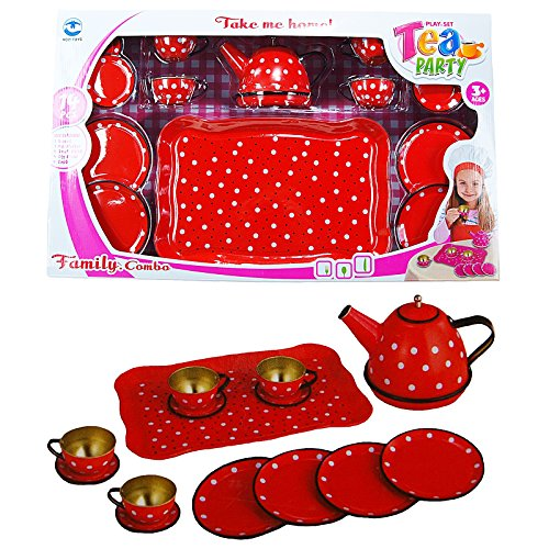 Unbekannt Kindergeschirr-Set 14 tlg.Set Teeservice Kaffeeservice Puppen Geschirr aus Metall mit...