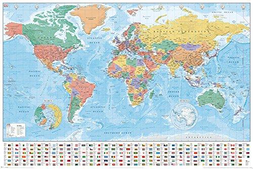 World Maps Mapas Mundo Banderas Hechos Póster tamaño