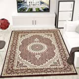 Teppich VIMODA Klassisch Gemustert Kreis, sehr dicht gewebt, Orient Muster in Rot - Top Qualität; Maße:120x170 cm