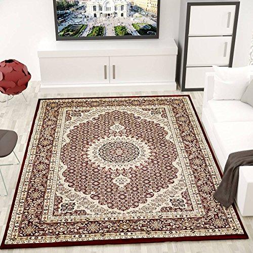 VIMODA tibet0146 - Alfombra clásica, firmemente tejida, patrón oriental de círculos, rojo, 120 x 170 cm