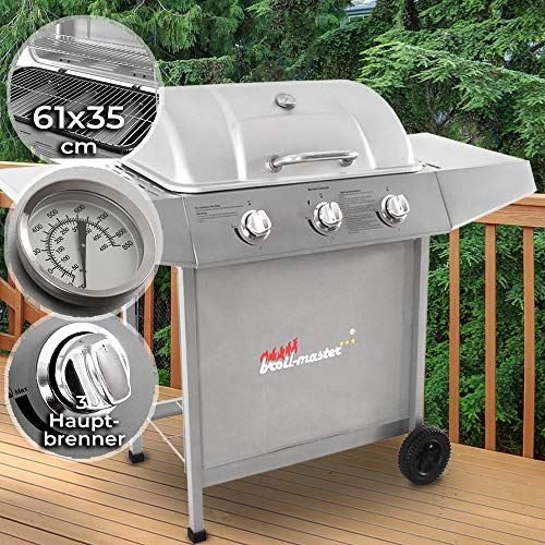 Broil-master BBQ Gasgrill | Edelstahl Deckel, Grillstation mit 3 Brenner | Grillfläche 61 x 35 cm | Farbe: Silber