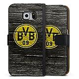 DeinDesign Samsung Galaxy S6 Tasche Leder Flip Case Hülle Borussia Dortmund BVB Holzoptik