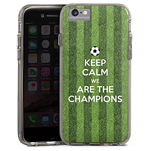 Apple iPhone 6s Bumper Hülle Bumper Case Glitzer Hülle Fussball Football Champions Bumper Case transparent grau