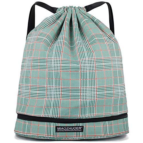 WANDF Wasserdichte Rucksack mit Teleskopischem Schulterriemen, für Einkauf und Sport Yoga (Grünes Plaid)