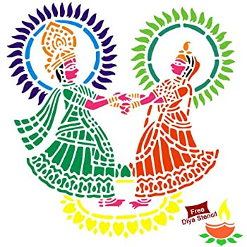 "Incredible Gifts India Diwali Rangoli Diy Stencil - Radha Krishna (12"" X12"" Others)"