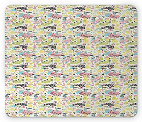 Pad, Memphis Style Pattern with Colorful Bunnies Baskets Eggs Chicks on Paint Splashes, Standard Size Rectangle Non-Slip Rubber Mousepad, Multicolor ()