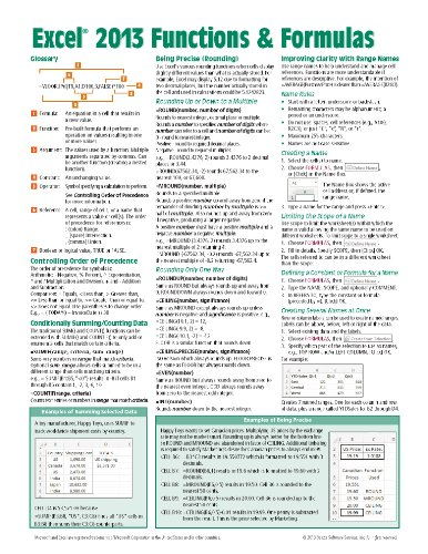 Microsoft Excel 2013 Functions & Formulas Quick Reference Card (4-page Cheat Sheet focusing on examples and context for intermediate-to-advanced functions and formulas- Laminated - Sheet Cheat 2013 Excel