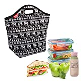 Elephant Large Lunch Bag Neoprene Insulated Lunch Tote Bag Reusable Lunchbox for Adults