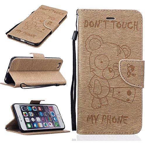 Leather Case Cover Custodia per Apple iPhone 6 plus/6s Plus 5.5 ,Ecoway Caso / copertura / telefono / involucro modello Orso Disegno retro della del modello PU con a Bookstyle tasche carte di credito oro