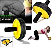 PRO365 Double Ab Wheel Roller Core Abdominal Workout with Blue Knee Mat (Yellow Color)