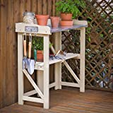 Plant Theatre Folding Hardwood Potting Table in Sage ()