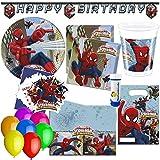 Procos, doriantrade Spiderman Kit de fête Web-Warriors 75 pièces pour 6 à 8 Enfants - pour Anniversaire d'enfant - Décoration de fête...