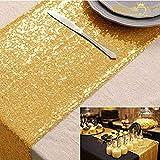 ShinyBeauty Gold Pailletten Tischläufer-35x275cm-Glitzerndes Gold Runner für Hochzeit/Party
