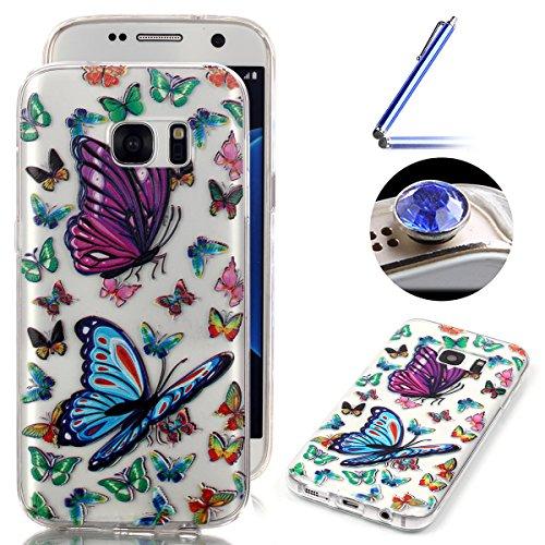 Etsue Transparente Coque pour Samsung Galaxy S7,Fine Doux Diaphane TPU Clear Case Bumper pour Samsung Galaxy S7 Silicone étui, avec Coloré Fleur et Papillon Motif Gel Coque de Téléphone Mobile [ Papillon Partout ] pour Samsung Galaxy S7 + 1 x Bleu stylet + 1 x Bling poussière plug (couleurs aléatoires)