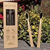 Bamboo Toothbrush by TOMARCO Pack of 2 Charcoal Medium Sharpened Bristles with Soft Edges 100% BPA Free, Green, Biodegradable, Hard Wooden, Suitable for Family, Kids, Baby and Children, Gift Box