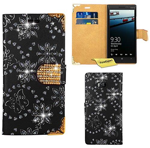 Preisvergleich Produktbild Nokia Lumia 930 Handy Tasche, FoneExpert® Bling Luxus Diamant Hülle Wallet Case Cover Hüllen Etui Ledertasche Premium Lederhülle Schutzhülle für Nokia Lumia 930 (Schwarz)