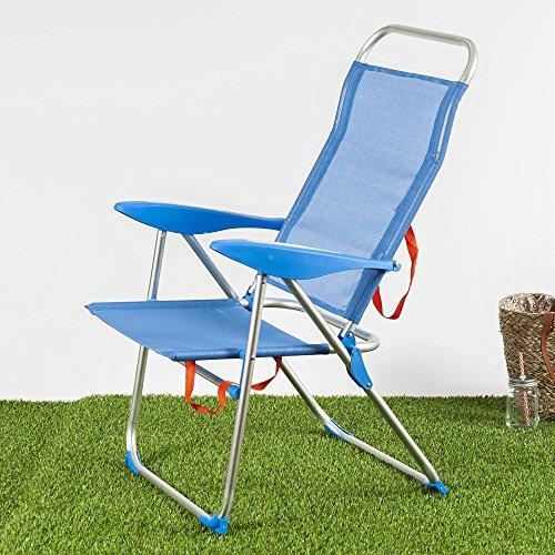 Habita Home Silla DE Playa 3 Posiciones Azul 58x59x105/d22 Color Azul