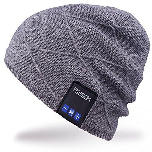 Rotibox Männer Frauen Bluetooth Musik Beanie Hut Cap Ohrwärmer mit Stereo Lautsprecher Kopfhörer Mic Hands Free und wiederaufladbare Akku für Handys, iPhone, iPad, Tabletten, Android Handy - Grau Handy Dual-hands Free Stereo