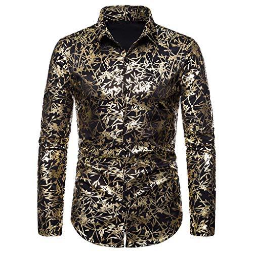 Zonary Herren-Hemd Slim-Fit Langarm-Hemden Langarm Shirts Bluse Blazer Print Umlegekragen (Schwarz,S/M/L/XL/XXL)
