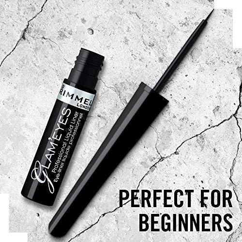 Rimmel London Eyeliner Liquido GlamEyes, Lunga Durata, Finish Opaco e Tratto Sottile, 001 Nero/Black Glamour, 3,5 ml