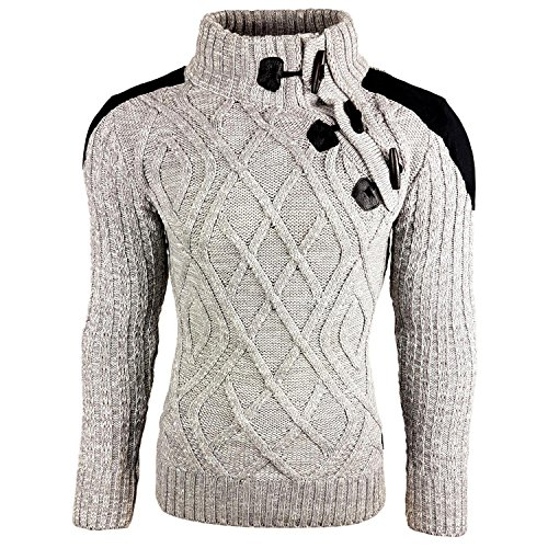 Subliminal Mode - Pull Over Col montant Homme SB-13283 Grosse Maille Camionneur Gris