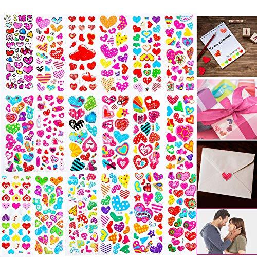 BEYUMI 20 Blätter Valentines Herzkleber für Kinder und Erwachsene, 400 + Verschiedene Stücke, Groß für farbenfrohe Dekorationen, Partyzulieferer Favors, Geburtstagsgeschenk, Belohnung Sticker