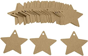 Zibuyu 100Pcs Five-Pointed Star Label Card Kraft Paper Gift Diy Hanging Tag(Brown)
