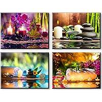 Piy Painting 4X Spice et Cuillère Tableau (Impression Contemporain Zen sur Toile 30cmx40cmx2.5X 4 Pics)