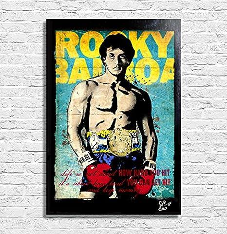 Sylvester Stallone in Rocky Balboa - Original gerahmt Fine Art Malerei, Poster, Leinwand, Artwork, Druck, Plakat, Leinwanddruck, comics