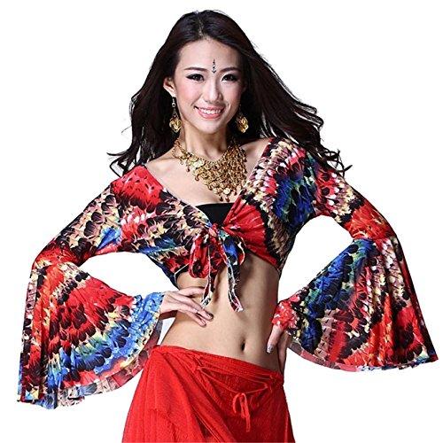 Women Sexy Dance Tops Bauchtanz Costume Prited Trumpet Sleeves Tops Dancewear Bauchtanz (Es Kostüm Sich Sie Machen Indischen)