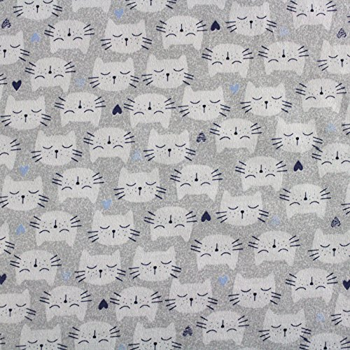 Jersey Stoff 100% Baumwolle 165 cm Breit (50 x 165 cm, Katzen) (Katze Jersey)
