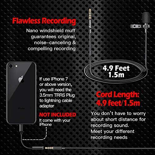 Zoom IMG-3 zeadio lavalier microfono da bavero