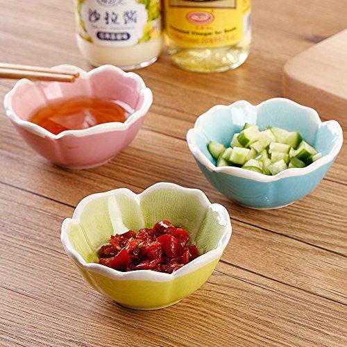 Whchiy 4pz creativo a forma di fiore in ceramica piatto di salsa di soia rotonda sushi appetizer piattini piatti (colore casuale)