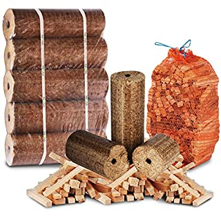 The Log Hut FIRE PITand CHIMINEA STARTER PACK- Extra Large Wood Heat Fuel Logs + 3kg Kindling - Comes with The Log Hut Woven Sack.