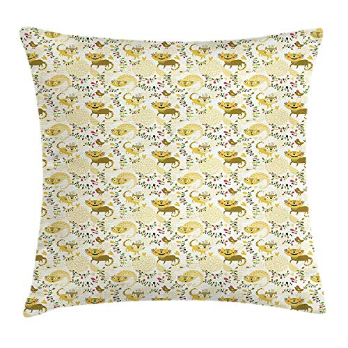 Bow Accent Heels (BBABYY Cat Throw Pillow Cushion Cover, Funny Smiling Kittens and Birds with High Heels on Abstract Clouds Flowers Background, Decorative Square Accent Pillow Case,Multicolor 18x18inch)